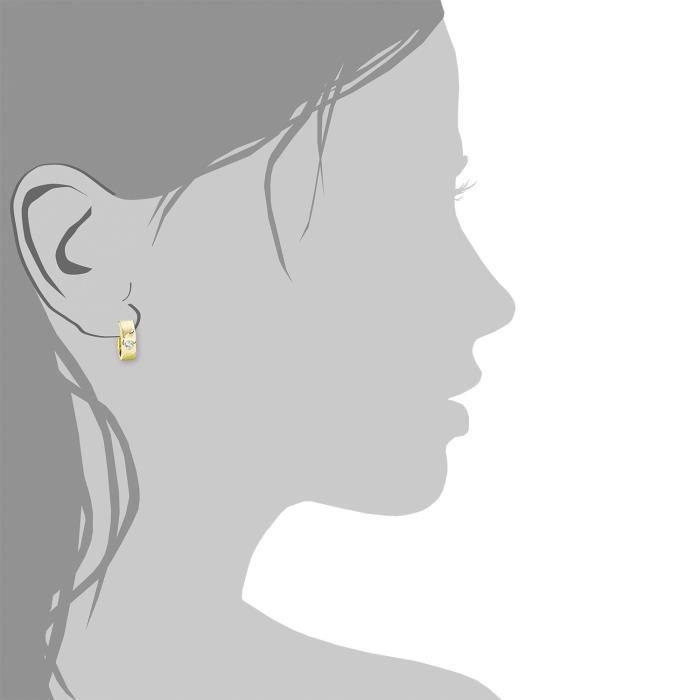 Femme-créoles Or Jaune 333–oxyde De Zirconium-blanc - 511315 De Taille T21WG
