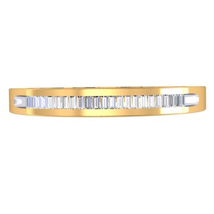 Bague Femme Diamants 0.12 ctArgent Fin 925/1000 Plaqué Or Jaune Baguettes Coupe Diamants Éternité