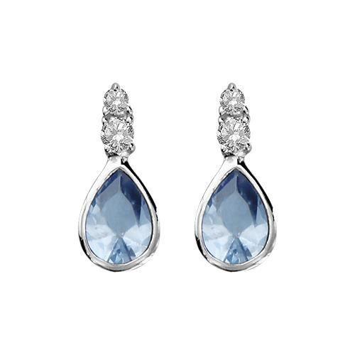 Boucles doreilles Femme Goutte Bleu-Blanc Argent