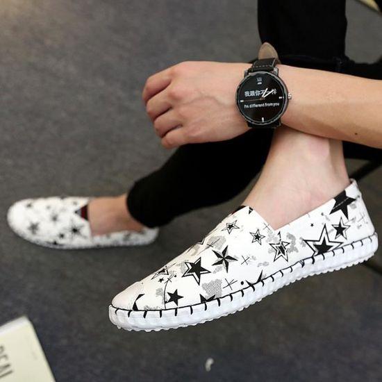 New Graffiti design Mode homme Chaussures Casual les Slip-On Chaussures plates pour les Casual hommes Lightweight Mesh Chaussures d'été pour Bleu Bleu - Achat / Vente slip-on 3c8cdc