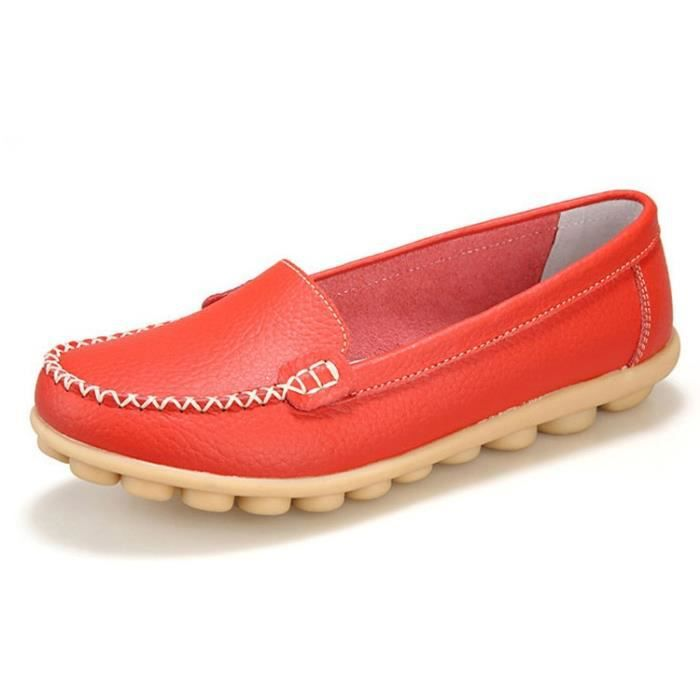 Mode Femmes ballerines en cuir véritable Mocassins été femme Chaussures Casual Flat Slip confortable sur les chaussures