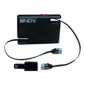 LINDY Dérouleur de câble réseau RJ45 Cat.5 UTP + 2 adaptateurs RJ-11 / 12