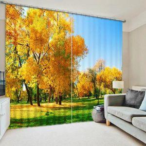 RIDEAU Rideaux Les arbres d'or en automne 3D effect l'omb