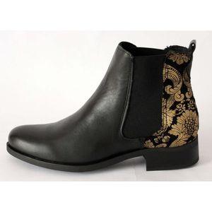 Boots Femme Chelsea Noir Pas Cuir Vente Achat Cher 87wWZ8rq