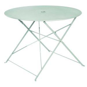 TABLE À MANGER SEULE Table ronde pliante en métal, coloris mint - Dim :