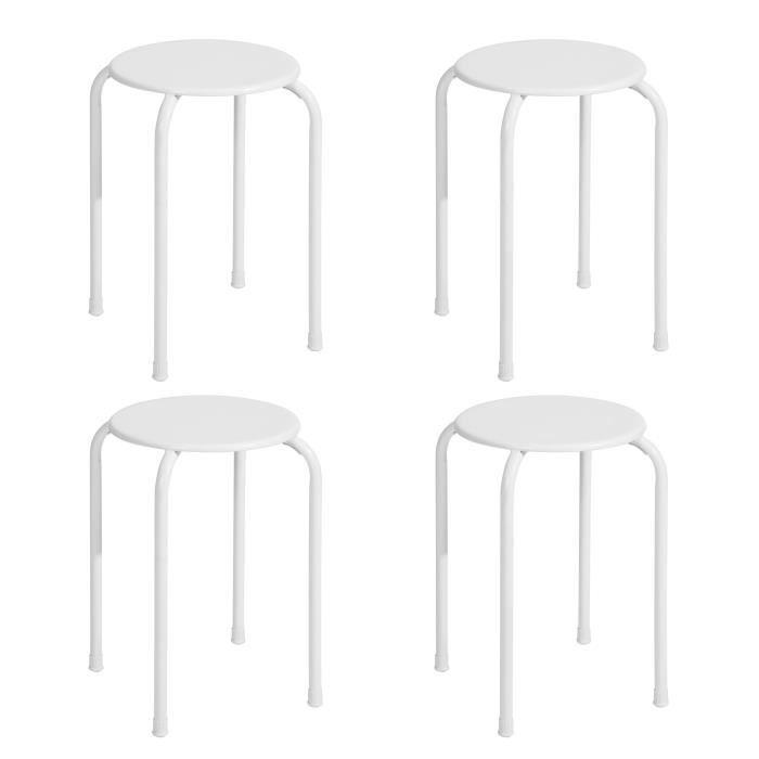 LEMON Lot de 4 Tabourets - Métal blanc - Style classique - L 30 x P 30 x H 45 cm