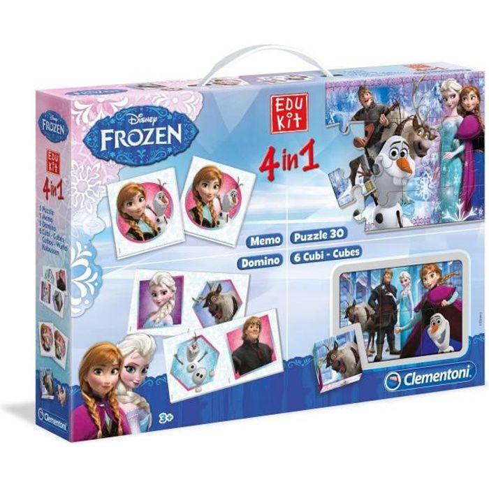 CLEMENTONI Edukit 4 en 1 - La Reine des Neiges - Mémo, Domino, Puzzle et Cubes