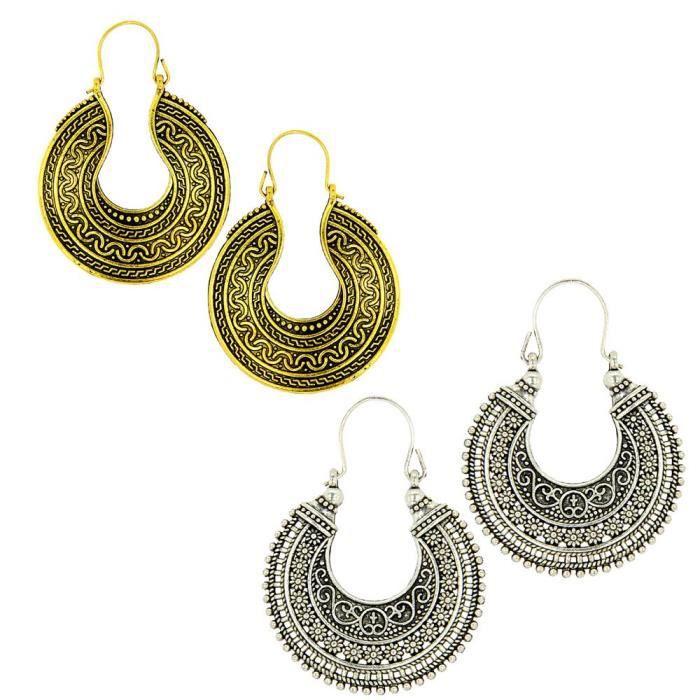 Boucle d'oreille collection tribale spéciale des femmes d'oxydé arg