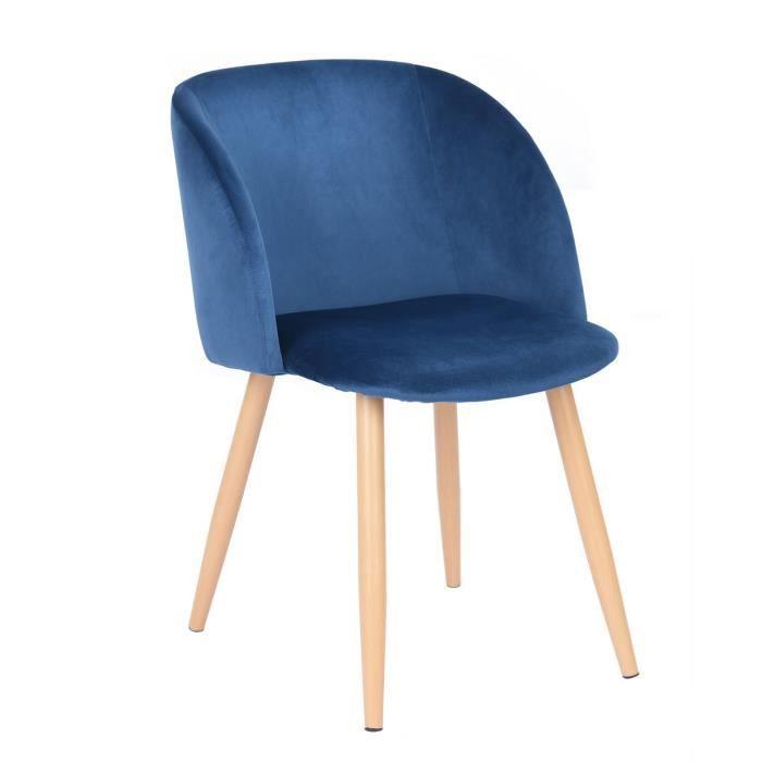 Chaise lounge en tissu velours rétro bleu,Fauteuil salle à ...
