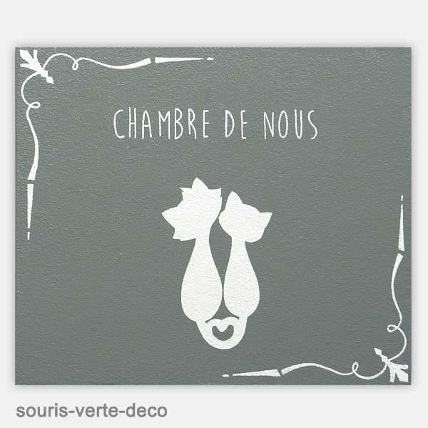 Plaque de porte Chat amoureux pour chambre parents, grise et blanche ...