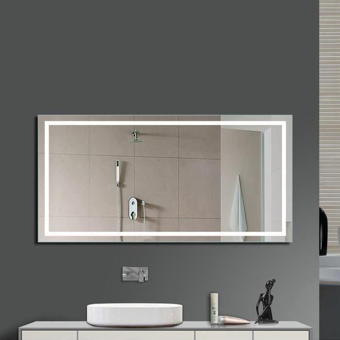 eclairage miroir salle de bain design Miroir LED Lampe de Miroir Éclairage Salle de Bain Miroir Lumineux Verre  Trempé Design Carré
