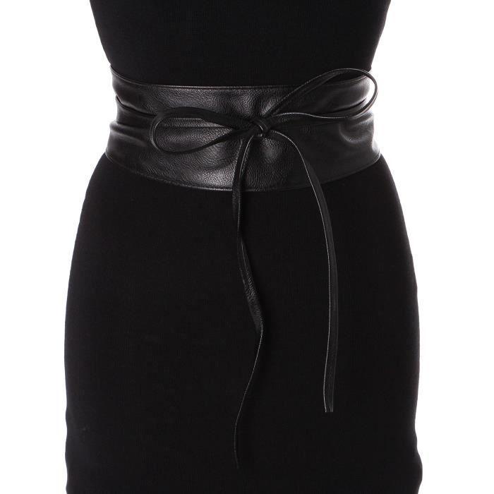 Ceinture large à nouer - noir - Achat   Vente ceinture et boucle ... d2570bdb7e6
