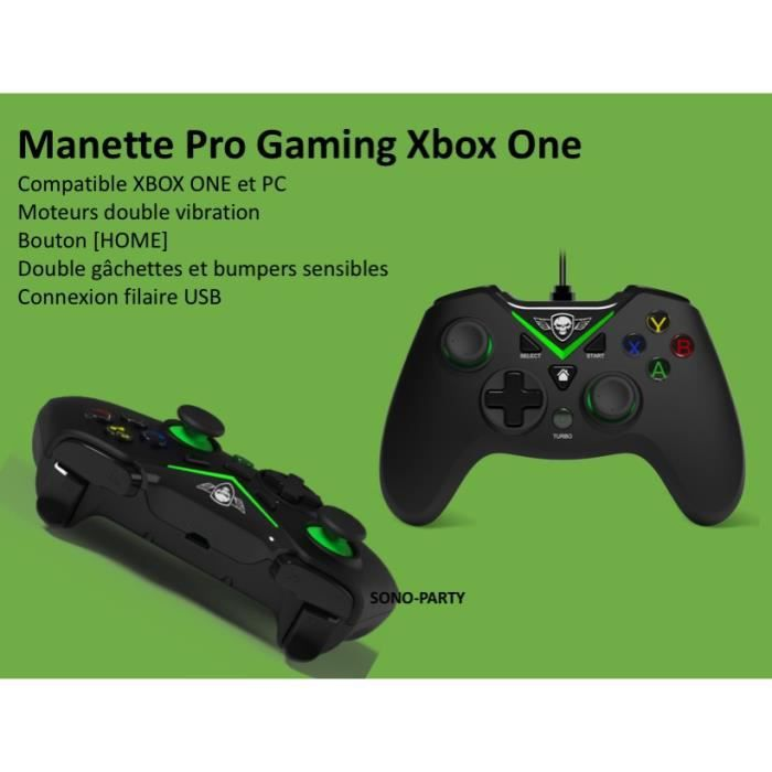 MANETTE GAMER COMPATIBLE XBOX ONE PC FILAIRE MOTEURS DOUBLE