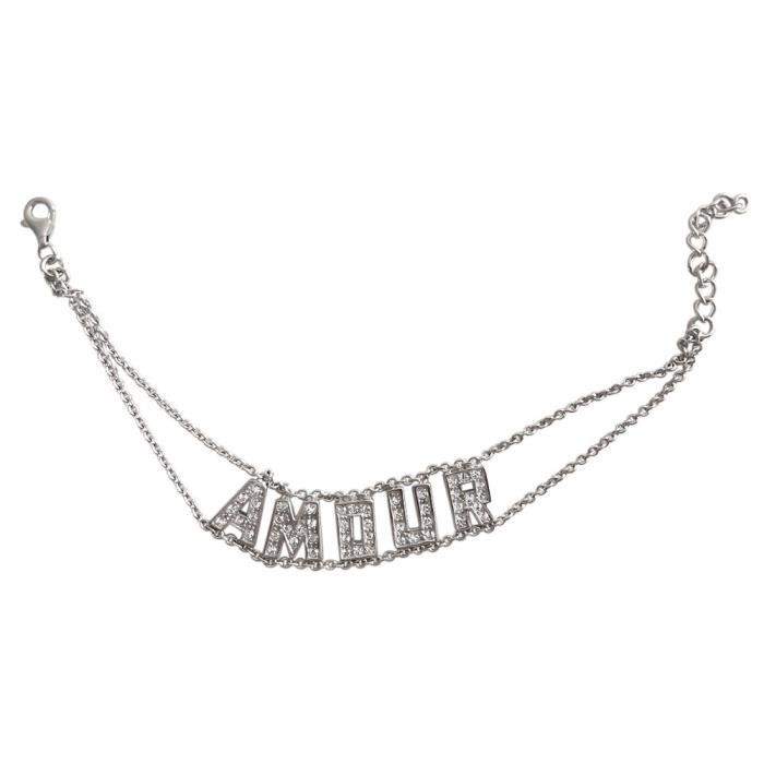 Bracelet en argent sterling Swarovski Amour Longueur:17-20 cm AS0005-1720
