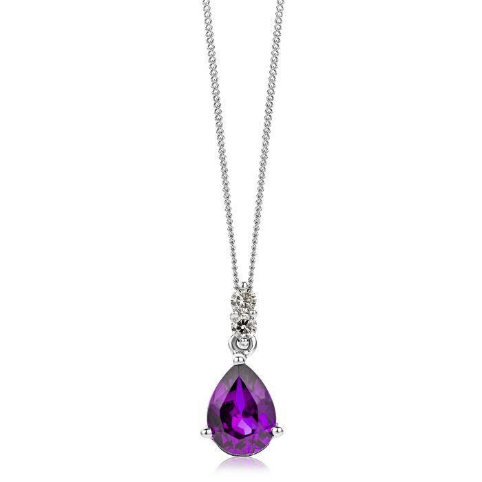 Miore 9 Ct or blanc 0,06 Ct Si diamant avec Collier pendentif à améthyste sur 45 cm chaîne 1Z8P0R