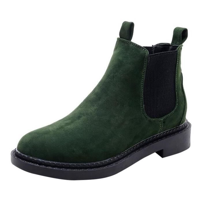 HEE GRAND Boots Femme Plate Chelsea Automnal