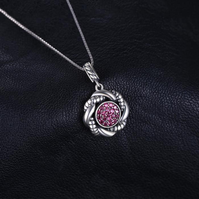 JewelryPalace Vintage 0.4ct Rubis de Synthèse Paver Pendentif Collier en Argent 925 18 Pouces