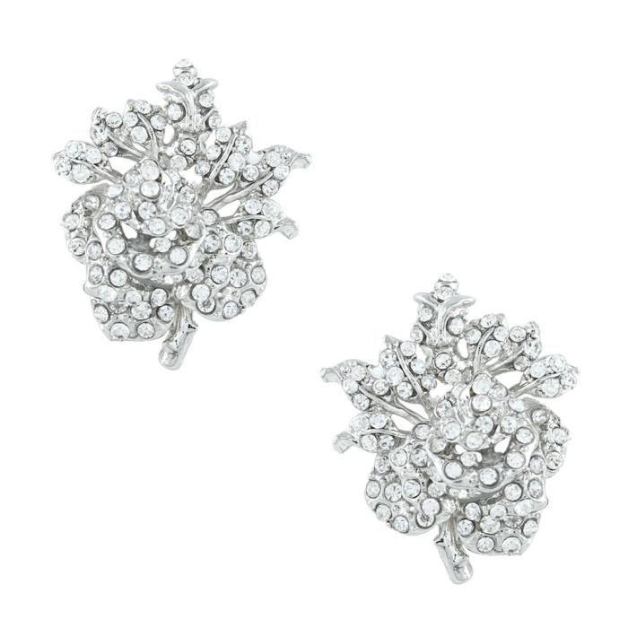 EVER FAITH®-Rameau Rose-Cristal Autrichien Collier Plastron Boucles dOreilles Parure Argenté N03030-7