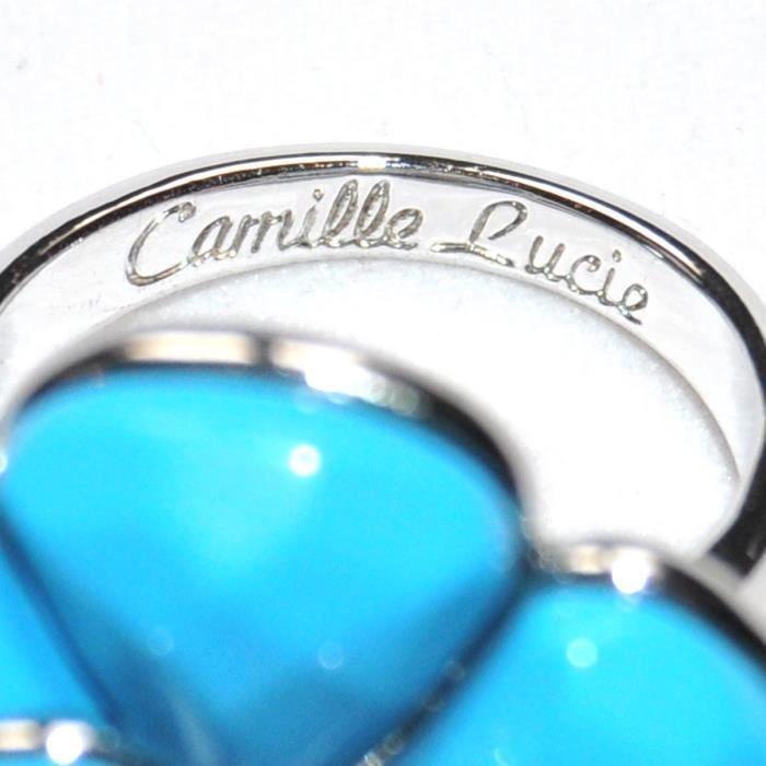 Bague Camélia Signée Camille Et Lucie Argenté Fleur Bleu T 58