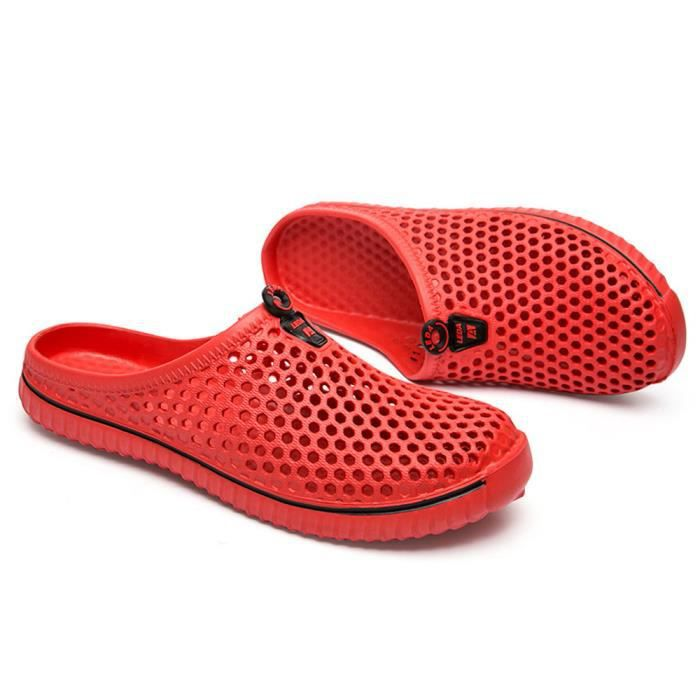 Hommes Chaussures Unisexe Évider Casual Couple Plage Sandale Tongs Chaussures LMH80305555RD rouge VSTF5