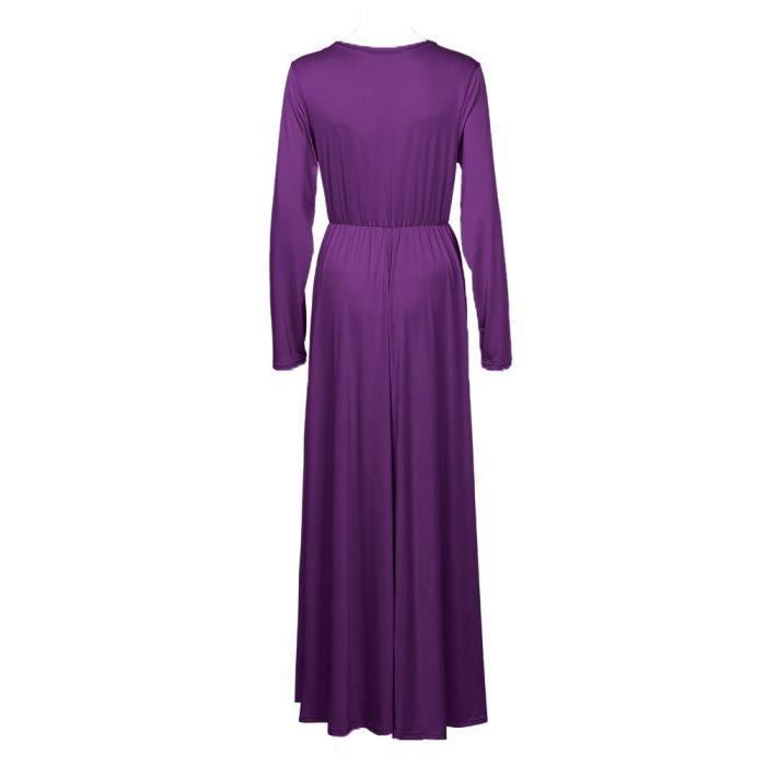 Col Maternité 4 Ruched Vêtements De 3 En Vrac Maternité Manches Robe femmes violet V Enceinte Enveloppé Longue Solide vFIP5xI