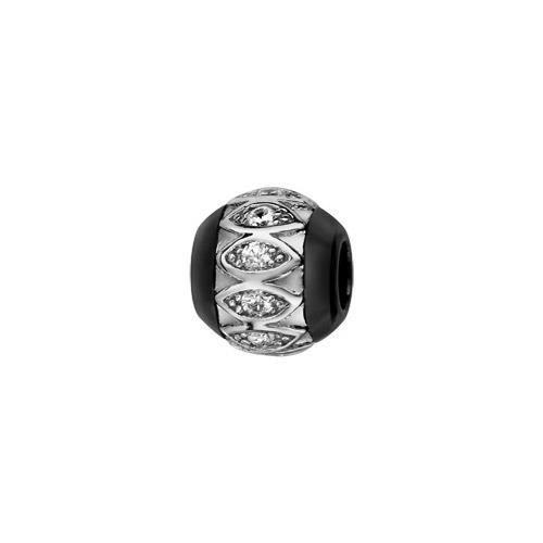 Charms boule céramique noire motifs ovales argent