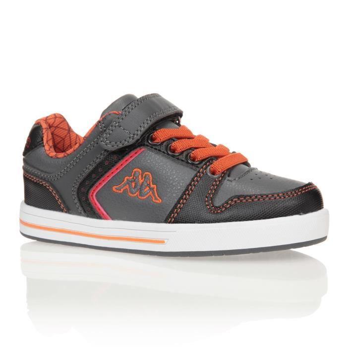 KAPPA Baskets Reggia Velcro Chaussures Enfant Garçon Gris et