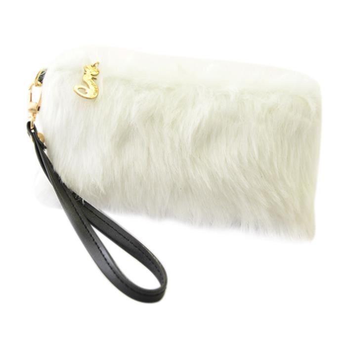 584f94cbfd Soirée Dîner Faux Fourrure Pochette Sac à main portefeuille femmes (blanc)