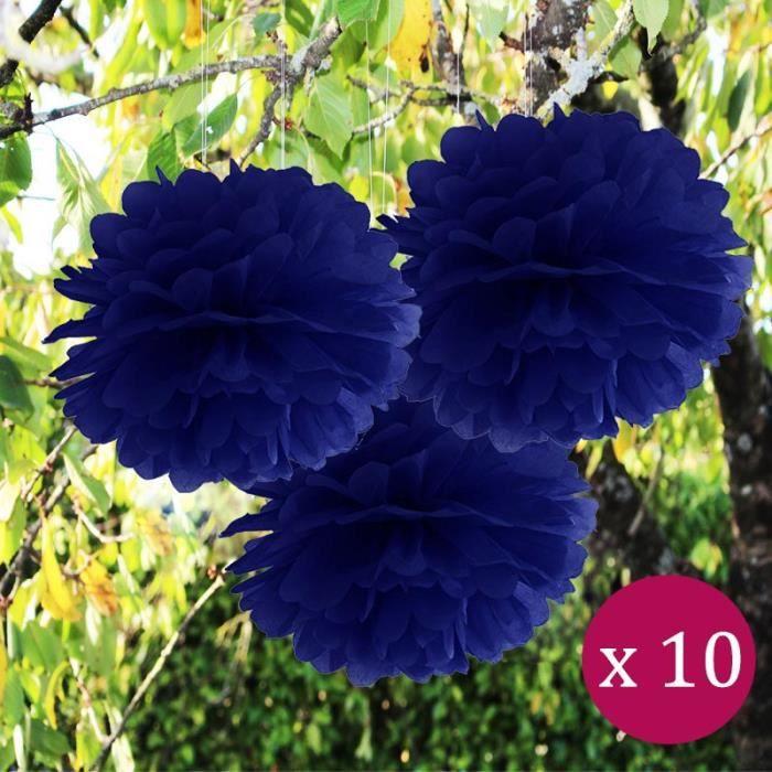 10 Pcs Boule De Fleurs Pompon Papier De Soie Bleu Nuit 25cm Decoration Salle Mariage Bapteme Fetes Anniversaire Baby Shower