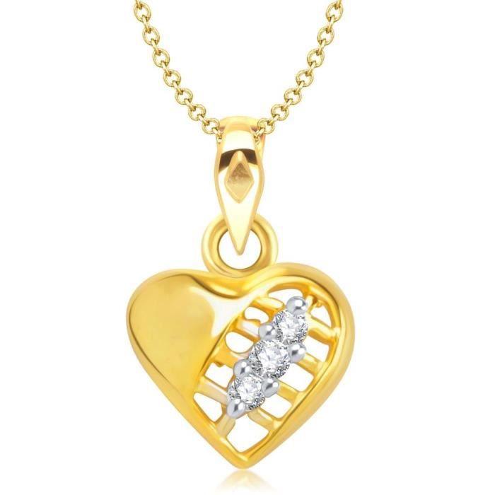 Femmes Vina Bijoux Saint Valentin Trois pierres en forme de coeur en or et plaqué rhodium Pendentif - P1184g [VKP IHC8Z