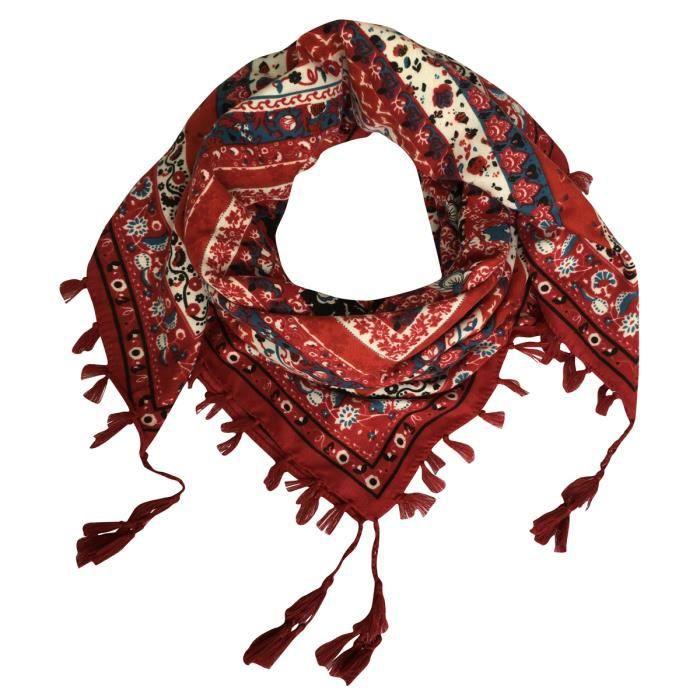 32fb41b36537 Foulard femme carré écharpe soie 105x105cm GOGOU XY2017-003 cotton ethnique  gland Vin rouge