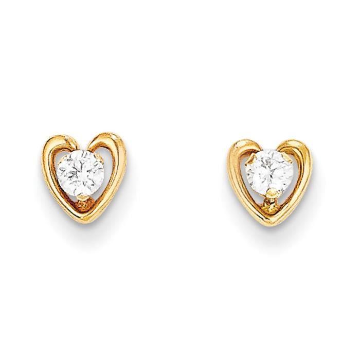 14 carats avec cœur en zircone cubique-Boucles doreille