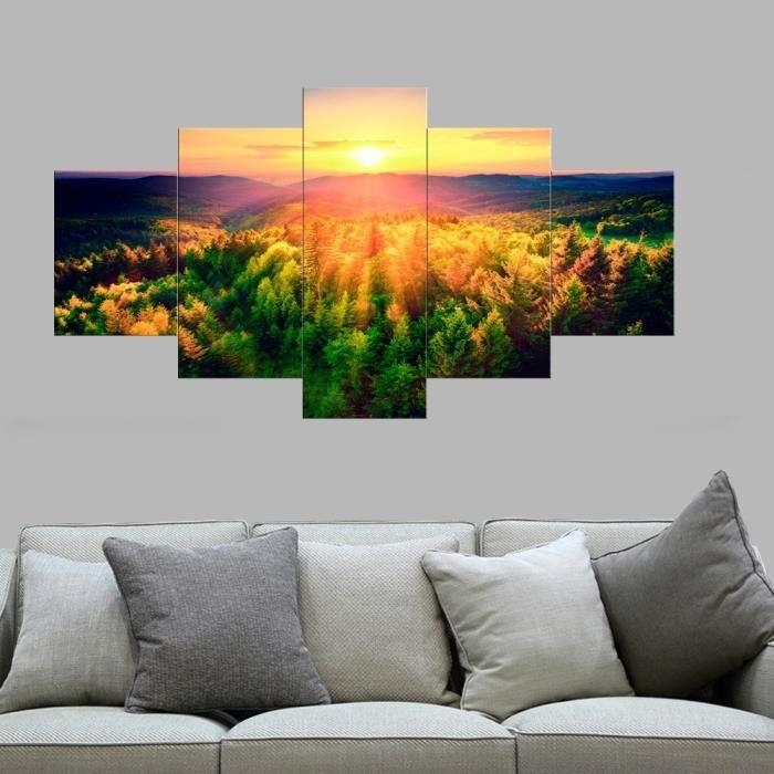 No Frame 5 Pieces Art Mur Coucher Du Soleil Peinture Paysage