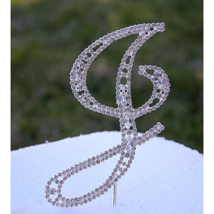 Lettre Strass Cristal Sur Pic Argenté Décoration Cake Design Wedding Anniversair