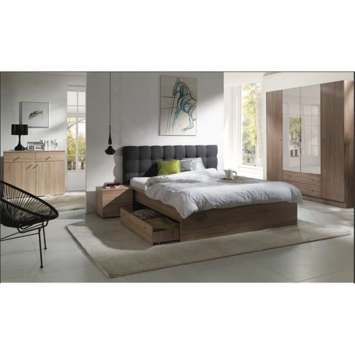 Chambre à Coucher Complète Maxim Lit Adulte 160x200 Cm Tiroir