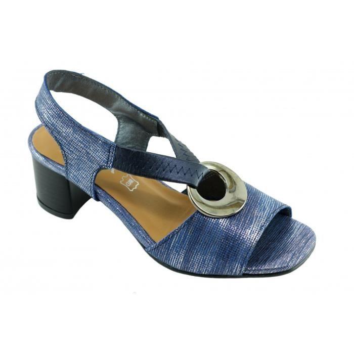 Janisse – Sandale avec un anneau métal, bride élastiqué croisé talon stable chaussures Femme marques Angelina cuir bleu