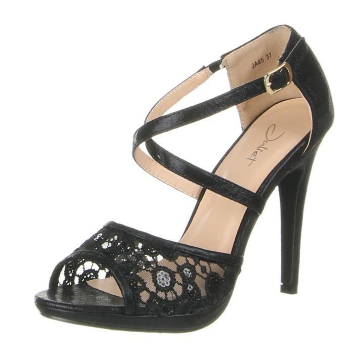 Haut Talon Chaussures Noir Escarpins Sandales Femmes Strappy qEqnvFrtx