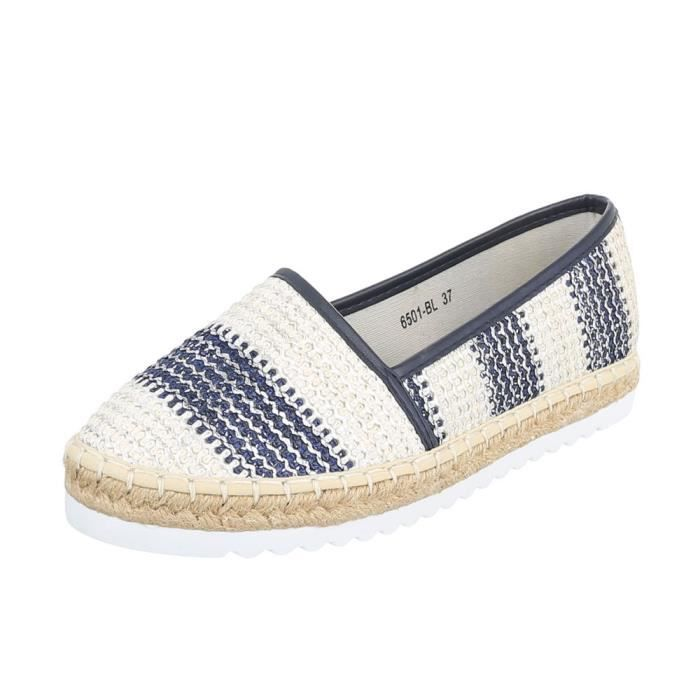 Chaussures femme flâneurs Espadrilles mocassin bleu Beige 41 VVvgTDgZL