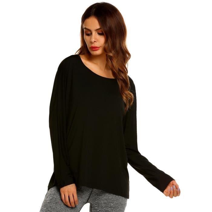 T shirt femme automne à manches longues Noir Noir - Achat   Vente t ... cb7cc0abf9e