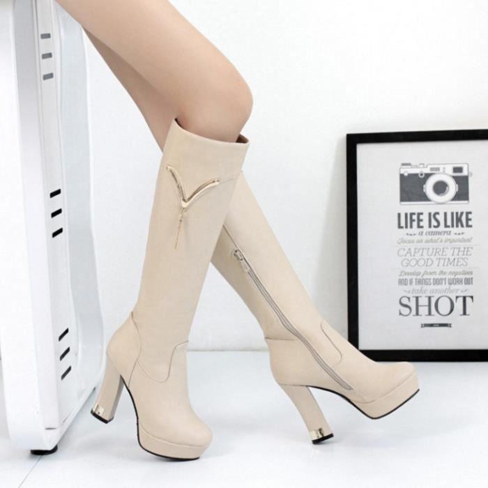GLAM®v la décoration avec des bottes à talons avec fermeture à glissière de chevalier blanc leurs bottes 1fsLe1X3