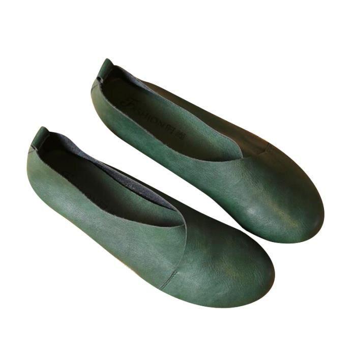 Ballerine Femmes Printemps Été Mode Cuir Chaussures DTG-XZ057Vert40 oxYftws