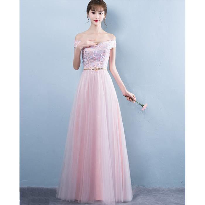 27a5753ee13 Robe Longue femmes Pour Cérémonie Mariage Cocktail Soirée Rose clair WK610