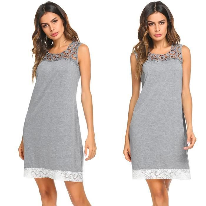 vêtements dentelle nuit de robe cou O évider Femmes Patchwork sommeil de lâche manches courtes 7WCI5nqnf