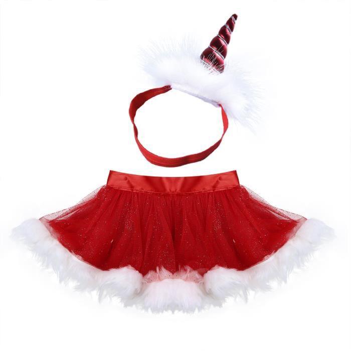 994eec82bcc Jupe fille bébé Noël rouge - à volants maille ourlet en peluche - de 18  Mois à 4 ans