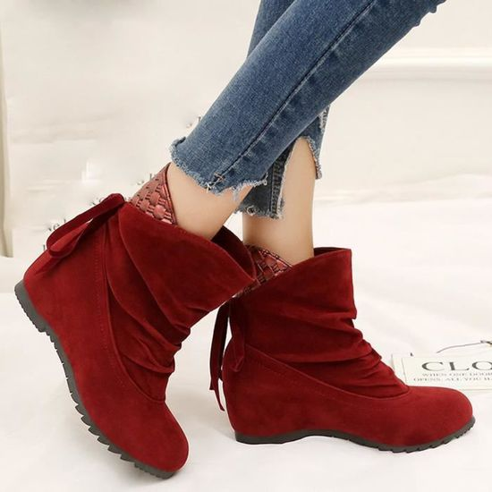 Low Slip on Rouge Ankle 6558 Boots Wedges Flat Shoes Femmes Martin xz Casual Ex1nq6WtI