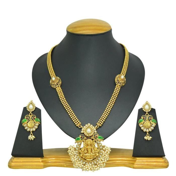 Dulhan nuptiale de femmes en métal blanc en alliage Ensemble de bijoux avec collier et boucles doreilles pourV1785