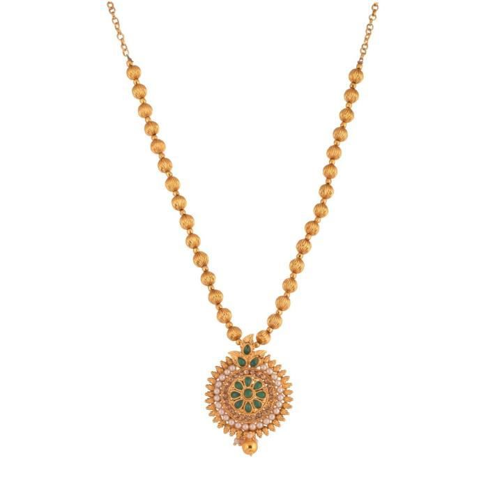 Womens Traditional Temple Design Green Gold Plated Pendant Necklace Set For & (10594) 10594 ABUYK