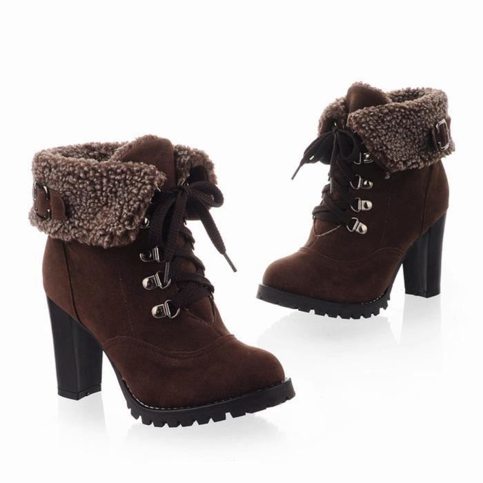 Napoulen®Femmes hiver loisirs bottes en peluche lacets haut talon populaire Marron-SJF71204732BW