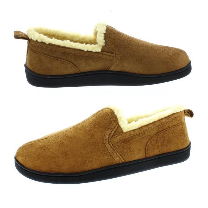 Norman Memory Foam Slippers Warm Sherpa Fleece Lined House Shoes Casual Slip On Loafers EXB7N Taille-44 1-2