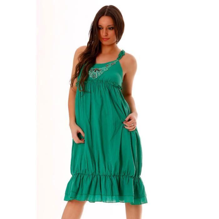 Miss Wear Line - Robe dété verte mi longue perlée sur la poitrine et attachable au niveau du dos